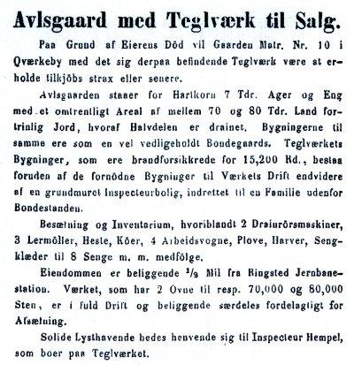 Annonce fra Ugeskrift for Landmænd 1869